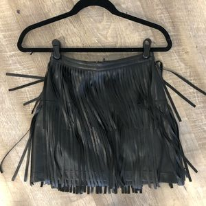 H&M Fringe Faux Leather Skirt